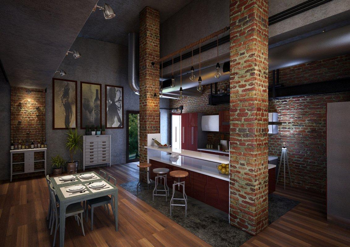 Кухня в стиле Лофт 10